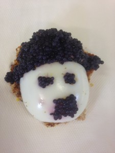 Charlie Chaplin made from half a hard boiled egg and caviar!