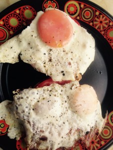 Pop eggs on top and scoff.