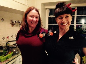 Heather and I sporting the Halloween corsages I made from leftover bits and pieces