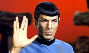 Leonard Nimoy giving the Vulcan 'live long and prosper' greeting: despite a long and varied career h
