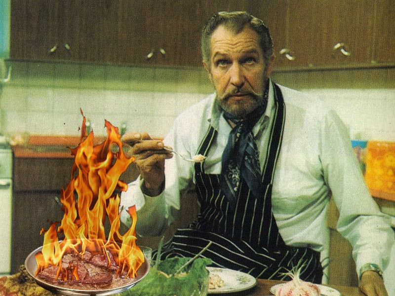Vincent Price's Steak Moutarde Flambe (Flamed Mustard Steak)